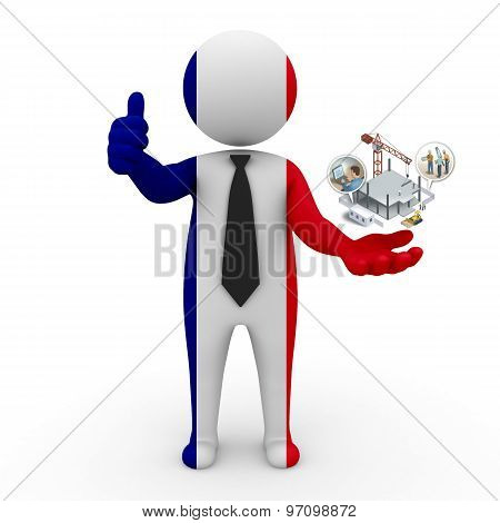 3d businessman people France - construction and innovative technologies