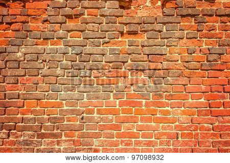 Ancient Red Brick Wall.
