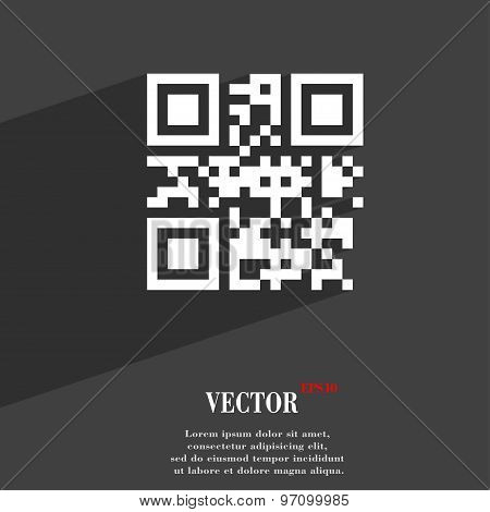 Qr Code Icon Symbol Flat Modern Web Design With Long Shadow And Space For Your Text. Vector
