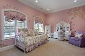 Pink Bedroom In Suburban Home