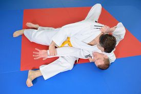 picture of shotokan  - Two fighter on the mat - JPG