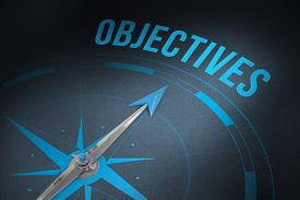 picture of objectives  - The word objectives and compass against grey - JPG