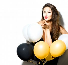 pic of celebrate  - Beauty fashion model girl with colorful balloons isolated on white background - JPG