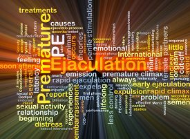picture of ejaculation  - Background concept wordcloud illustration of premature ejaculation PE glowing light - JPG