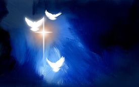 stock photo of calvary  - Conceptual graphic digital illustration of the cross of Jesus Christ and three spiritual doves set against textured blue oil painted background - JPG