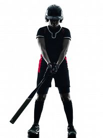 foto of softball  - one woman playing softball players in silhouette isolated on white background - JPG