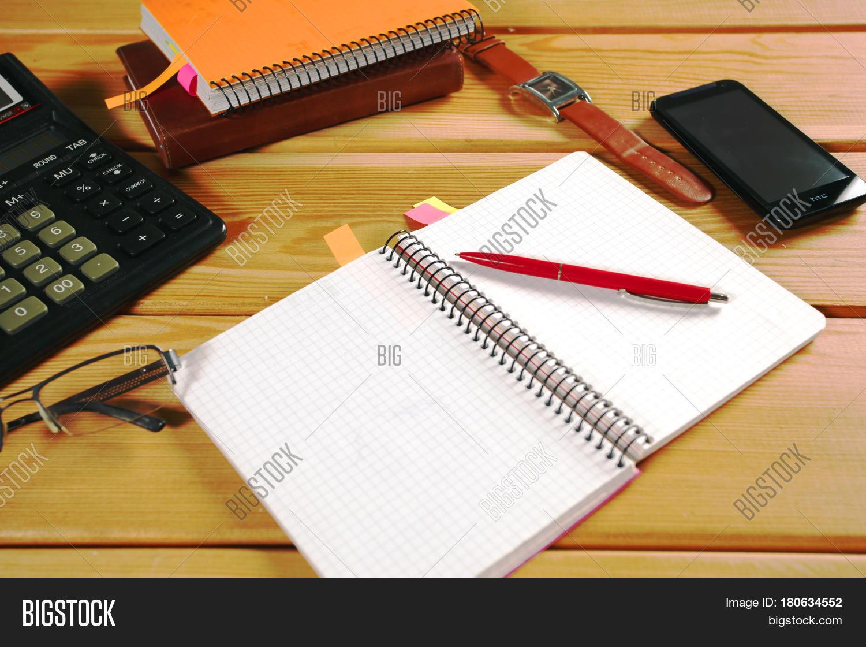 Imagen Y Foto Desk Calculator Office Table Bigstock