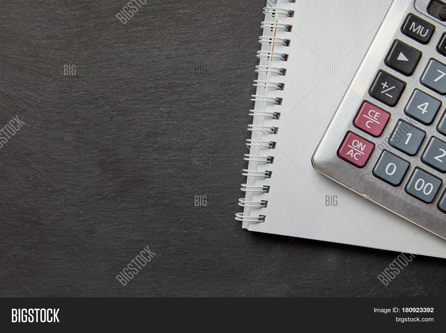 Office Black Table With Calculator Notepad Top View With