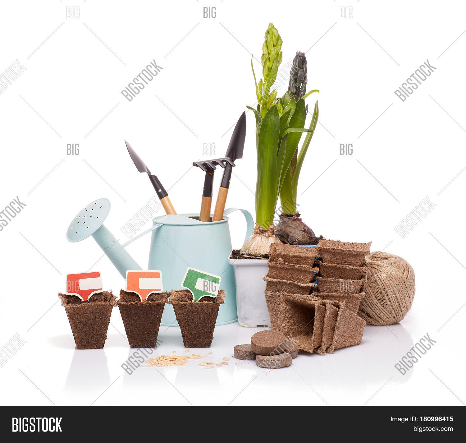 Gardening tools watering can peat image photo bigstock for Gardening tools watering
