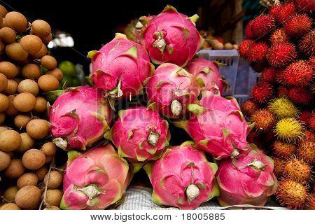 Dragon Fruit In Cambodian Market