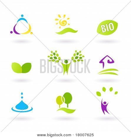 Ecology & People Nature Friendly Bio Icons Set - Green, Yellow, Magenta.and Blue.