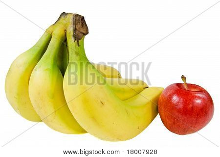 A Bunch Of Bananas And An Apple
