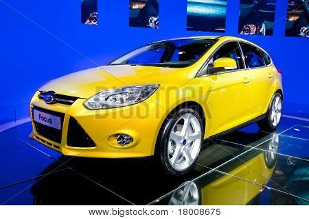 Moscow, Russia - August 25:  Yellow Car Ford Focus On Display At Moscow International Exhibition Int