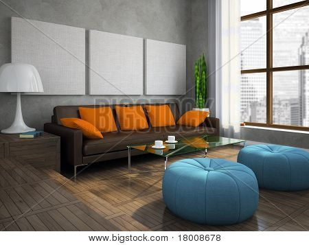 Part Of The Modern Living-room With Blue Ottomans
