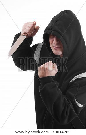 Bandit In Black With Knife