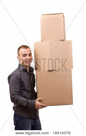 Man Lifting Cardboard