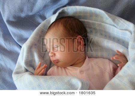 Baby Sleeping In Blue