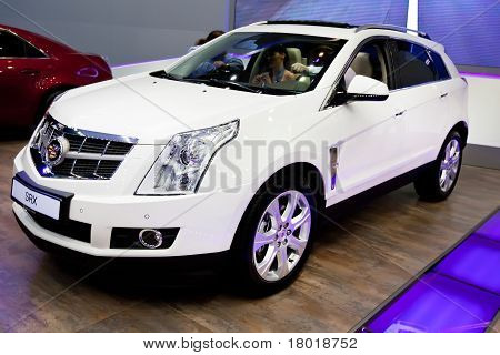 Moscow, Russia - August 25:  White Jeep Car Cadillac Srx  On Display At Moscow International Exhibit
