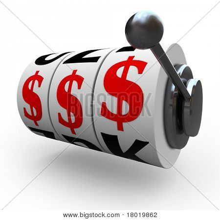 Three dollar signs lines up for a jackpot on 3 slot machine wheels, symbolizing a jackpot of wealth, money, riches