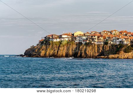 small old town on the cape between sea and sky