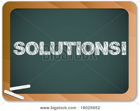 Blackboard With Solutions Message Written With Chalk