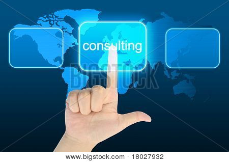woman hand pressing consulting button on a touch screen interface
