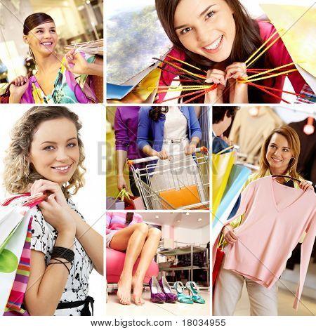 Colagem de imagens com os compradores fêmeas jovens