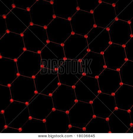 Hexagonal pattern of molecules