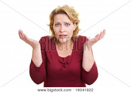 Woman Shrugging With Her Shoulders