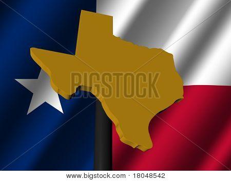 Texas map sign on Texan flag illustration