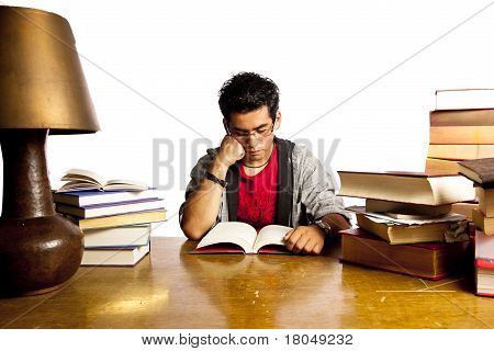Young Adult Student Reads Book, All Isolated On White Background