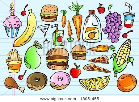 Color Notebook Doodle Sketch Tasty Food Vector Illustration Set