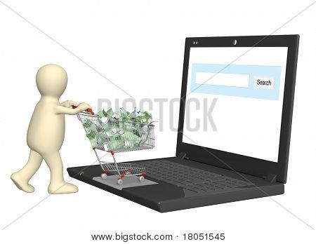 Conceptual image - virtual shopping. 3d