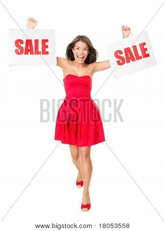 Sale - Woman Showing Shopping Bags