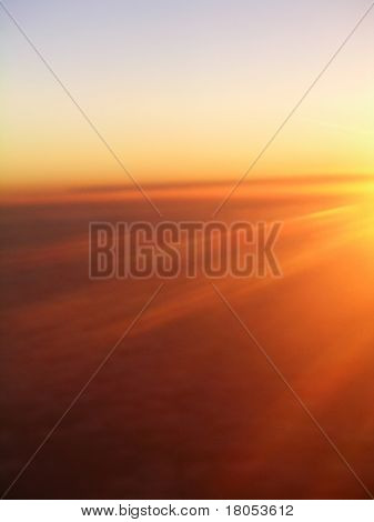 Beautiful sunrise at thirty four thousand feet
