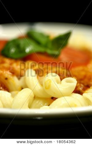 Close up of a plate of spiral pasta with meat sauce, a slice of tomato and basil leaf , sprinkled with grated cheese