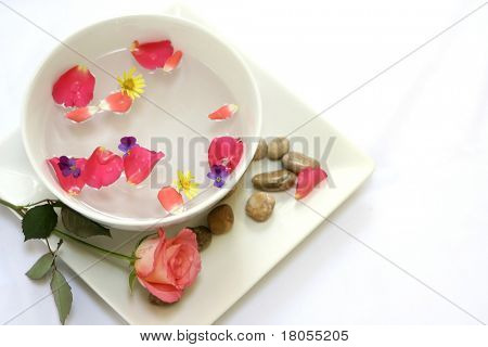 Setting for a sensual body massage suitable as part of a spa or beauty treatment