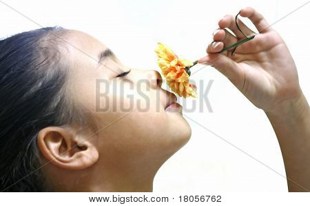 Close up of a girl appreciating the aroma and beauty of a single yellow chrysanthemum, on white