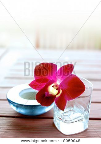 Single red oriental orchid in glass container with aromatherapy candle, part of health and alternative wellbeing therapy