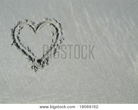 Heart in sand - left side