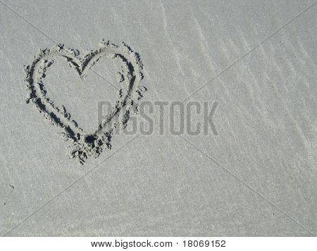 Heart in sand - left side