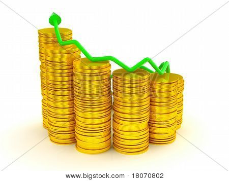 Growth And Profit: Green Graph Over Golden Coins Stacks
