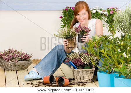 Summer Garden Terrace Redhead Woman Hold Flower