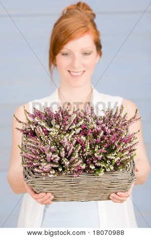 Summer Redhead Woman Hold Basket With Flowers