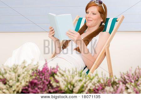 Summer Terrace Red Hair Woman Relax In Deckchair