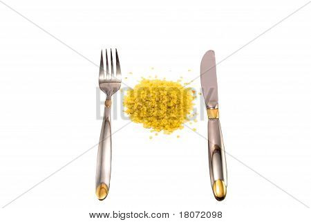 fork, knife, quick-cooking flakes