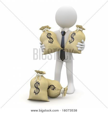 Businessman with bags of dollars