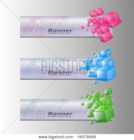 Banners, colorful internet backgrounds set, vector.