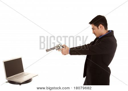 Business Man Shoot Computer