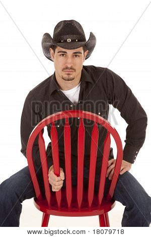 Cowboy Red Chair Serious